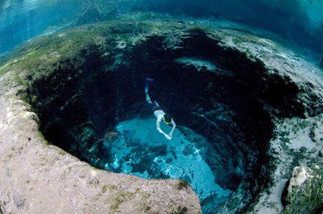 Cave diving in Devil's Eye Spring, northern Florida.