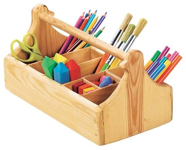 Sturdy Wooden Crayon Caddy With 8 Compartments traditional toy storage