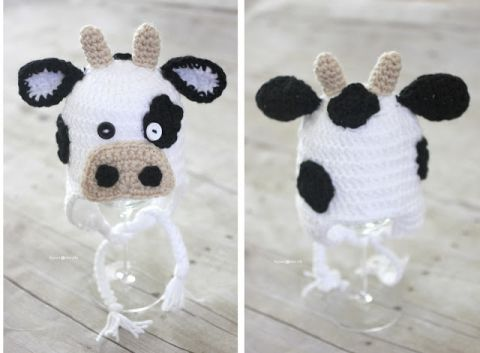 Free cow hat pattern with sizes for all ages from newborn to adult