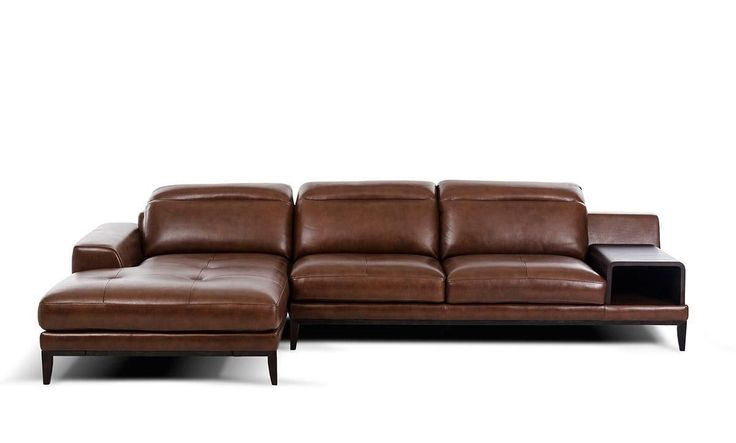 VGKK1550-BRN-Divani Casa Myrtle Modern Brown Leather Sectional SofaFinishing: Brown LeatherDimensions:Chaise: W70