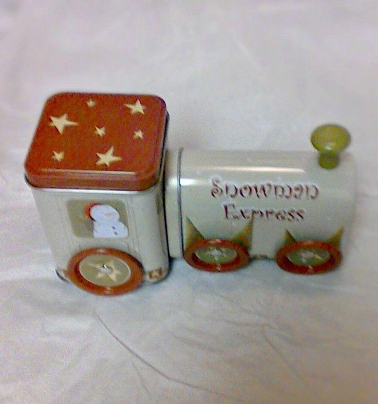 ChristmasSnowman Express Tin Train The Tin Box Company With Moving Wheels  #TheTinBoxCompany
