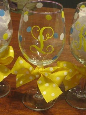 diy monogram wine glasses by olive