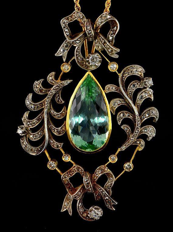 Victorian mine cut diamond and emerald necklace