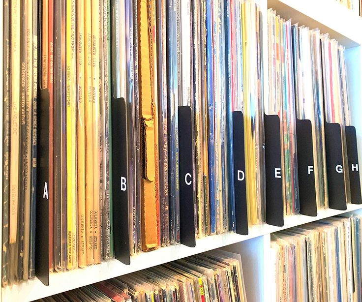 A to z black vertical vinyl record dividers 12inch lp