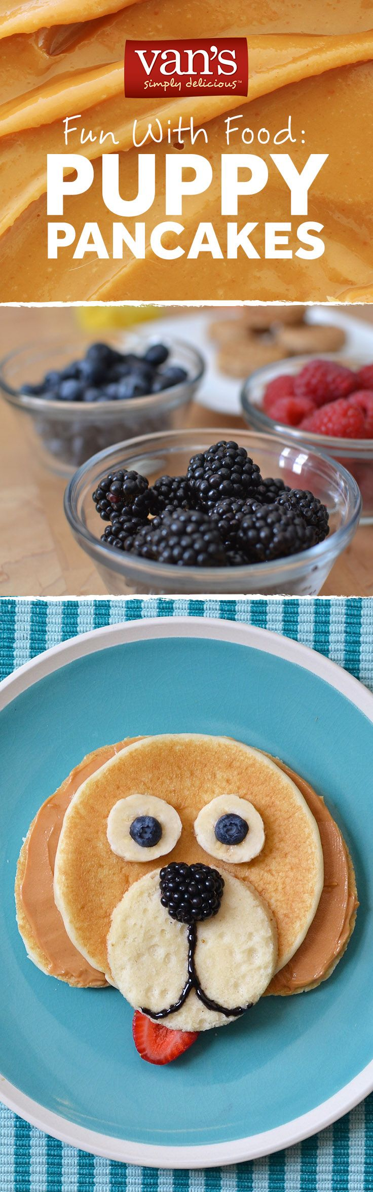 Another fun way to start the kiddos' day - make puppy pancakes with peanut butter, banana slice & blueberry eyes, a blackberry nose and a strawberry tongue.