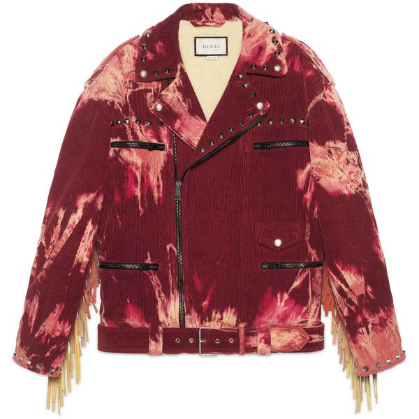 Gucci Bleached Tie-Dye Corduroy Jacket (£4,980) ❤ liked on Polyvore featuring outerwear, jackets, coats, gucci, red, red jacket, corduroy jacket, asymmetrical zip jackets, shearling lined jacket and oversized jacket