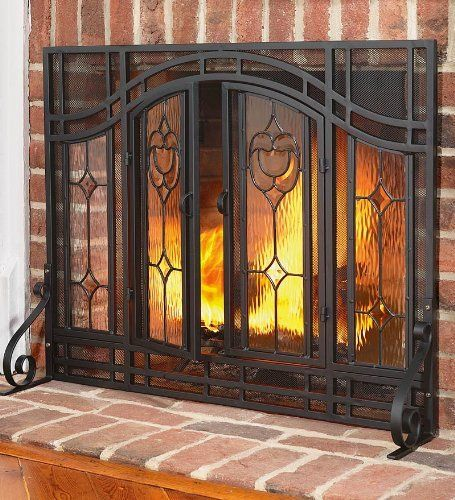 Large Two Door Floral Fireplace Screen With Beveled Glass Panels And Tool Set In Black By Plow