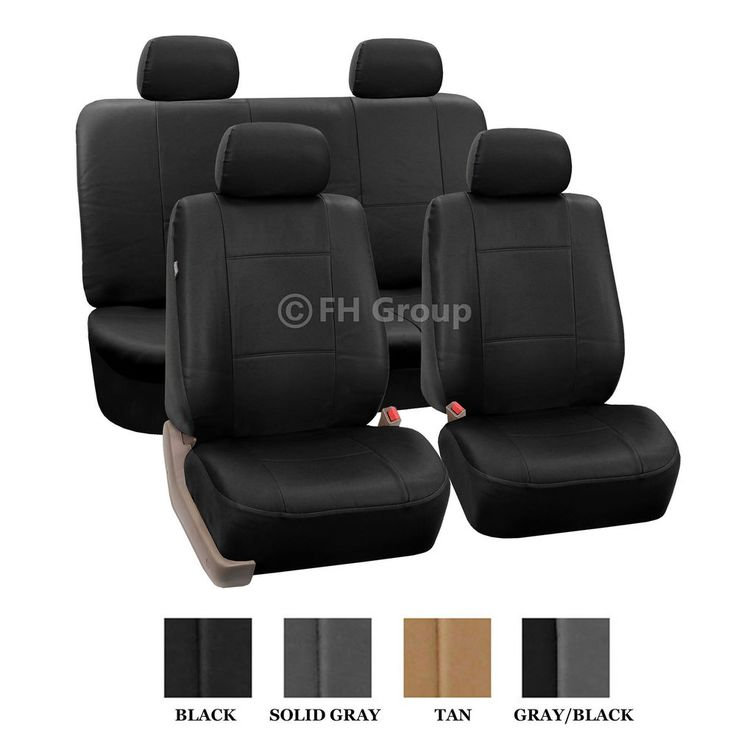 pu leather seat covers w 4 headrests solid bench black vw beetle pinterest leather seat. Black Bedroom Furniture Sets. Home Design Ideas
