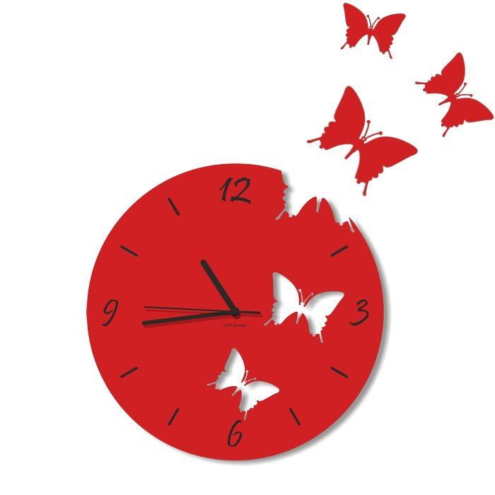 Dekoracyjny zegar ścienny Urlik Design Motyle, czerwony ◾ ◾ PrezentBox