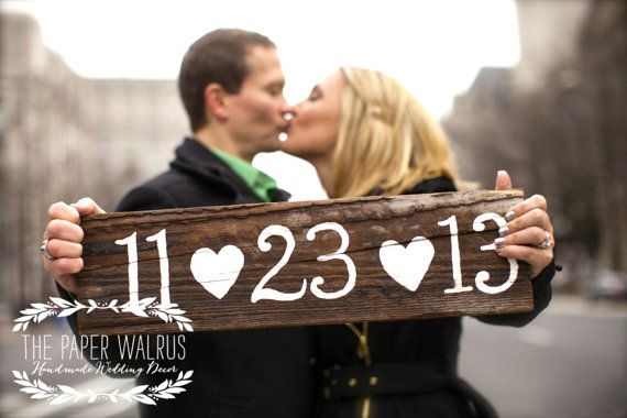 Save The Date Sign   Rustic Wedding Photo Prop  by ThePaperWalrus, $29.99