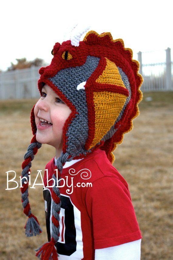 Crochet Dragon Hat Pattern Pdf File Jackson And Masons