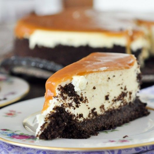 """Irish Cream Caramel Cheesecake (""""This is everything cheesecake was meant to be. I mean, I have made a lot of really amazing cheesecakes in my time (Not to brag or anything….), but this one. This one 'Takes the Cake' if I may. And that caramel on the top? Really. Oh.My.Word. That is my all-time favorite caramel recipe – Uh-Maze-ing.) ~ Foods Of Our Lives"""