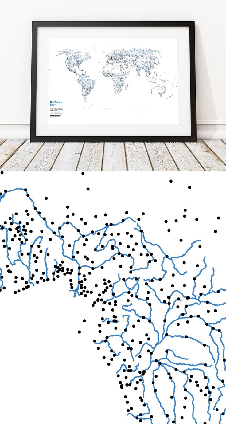 30 best landmass goods images on pinterest bright colors bucket httpslandmassgoodscollectionsworld map postersproductsrivers of the world highlighting the rivers of the world and with cities as black dots to gumiabroncs Gallery