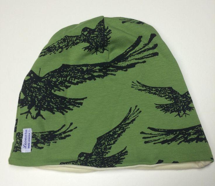 Vihreä korppi pipo, luomupuuvillaa merinovillavuorella, koko 58, Leonora