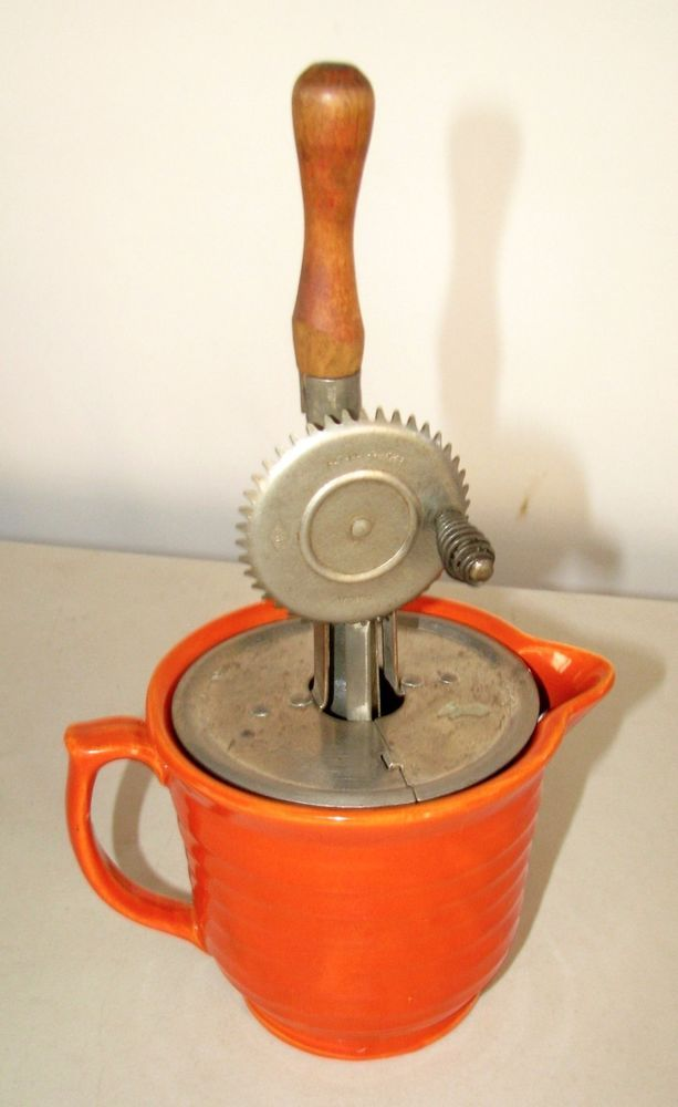 Vintage BAUER Pottery #308 Beater Bowl Pitcher orange with hand mixer