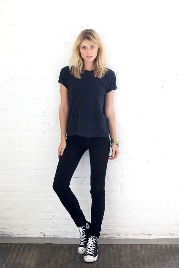 Le Fashion Blog Model Off Duty Style Worn In T Shirt Skinny Black Jeans High Top Converse Sneakers via Free People