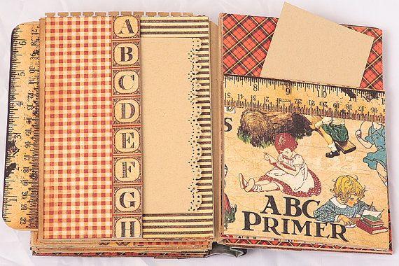 ABC Primer Scrapbook Mini Album unique gift for by scrapologist