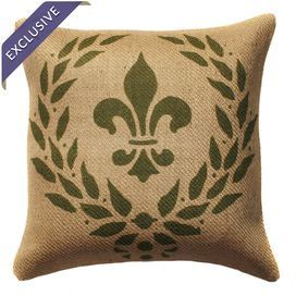 "Burlap pillow with a fleur-de-lis motif. Handmade in the USA.  Product: PillowConstruction Material: 100% Burlap cover and polyester fill Color: Natural and greenFeatures:      Zipper enclosureHandmade by TheWatsonShopMade with eco-friendly inks Insert includedMade in the USADimensions: 16"" x 16""  Cleaning and Care: Spot clean only"