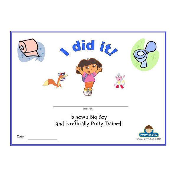 PRINTABLE Dora the Explorer Potty Training Certificate for Boys