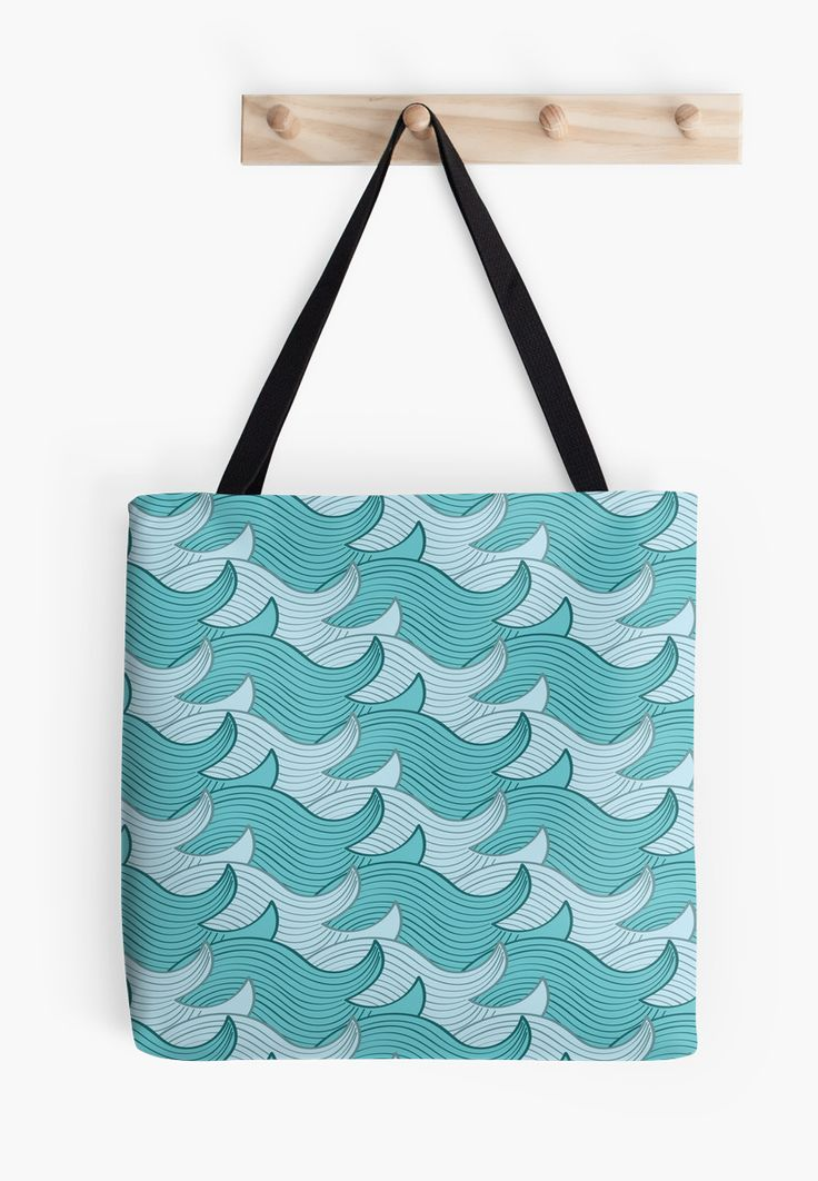 California Surf Wave Pattern Illustration by Gordon White | California Surf Large Tote Bag Hanging from Wall Available @redbubble --------------------------- #redbubble #stickers #california #losangeles #la #surf #wave #cute #adorable #pattern #totebag #bags
