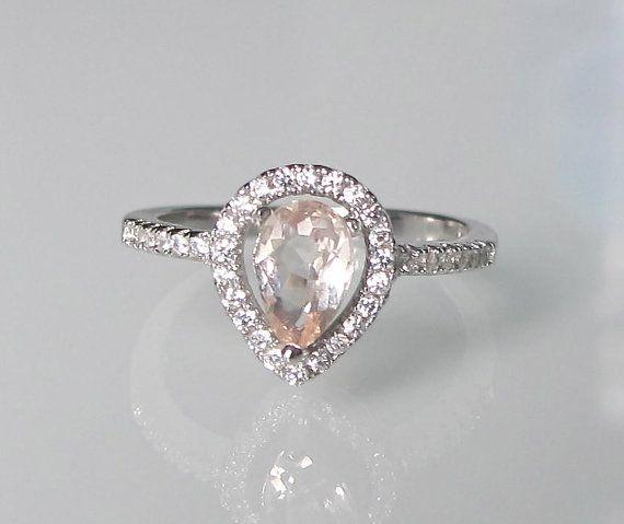 Pear Morganite Promise Ring Morganite Engagement Ring Rose Gold Promise Rin