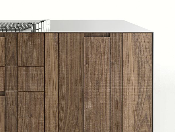 Love the ultra thin stainless steel bench with the rough sawn timber panel cabinetry