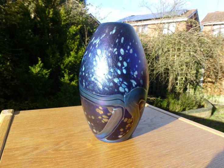 Signed Mdina Glass Iridescent Egg Shaped Vase - Malta Studio Art