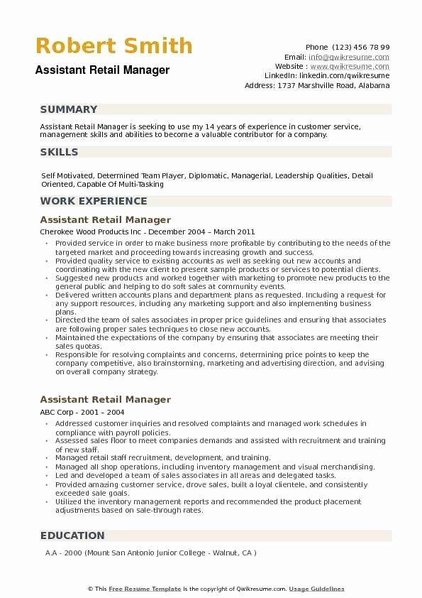 Retail Management Skills For Resume Awesome Assistant Retail Manager Resume Samples In 2020 Resume Summary Examples Resume Examples Resume Summary