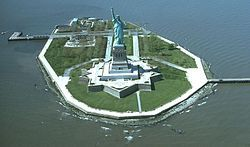 We then took a ferry to Liberty Island, passing Ellis Island