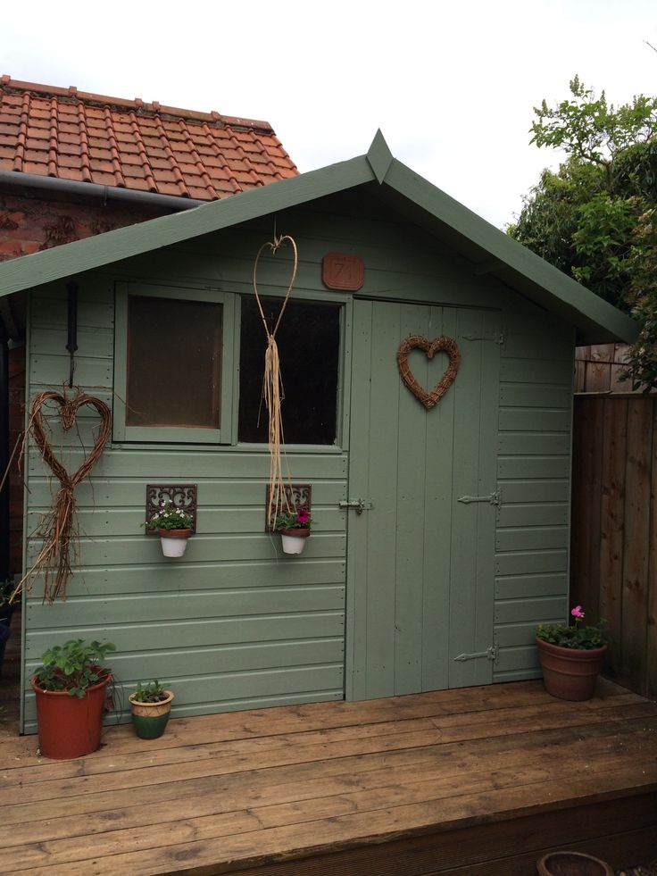 painted the shed green back garden pinterest gardens