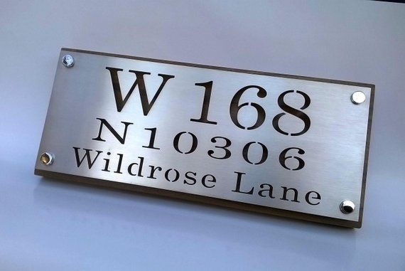 Custom Stainless Steel And Wood House Number Address Plaque From