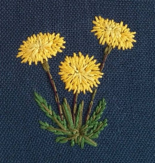 dandelion hand embroidery