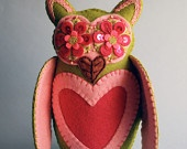 Sweetheart OwlWool Felt, Crafts Owls, Mexicans Folk, Folk Art, Embroidered Felt, Owls Dolls, Felt Embroidered, Embroidered Owls, Embroidered Wool