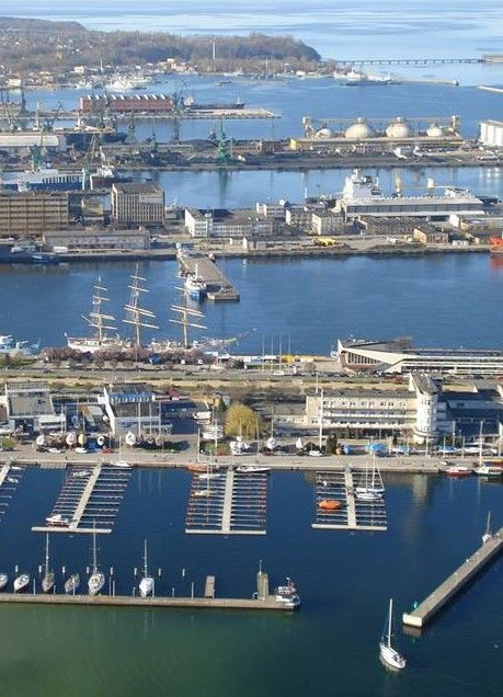 Bird's eye view of port of Gdynia. / Port w Gdyni z lotu ptaka.
