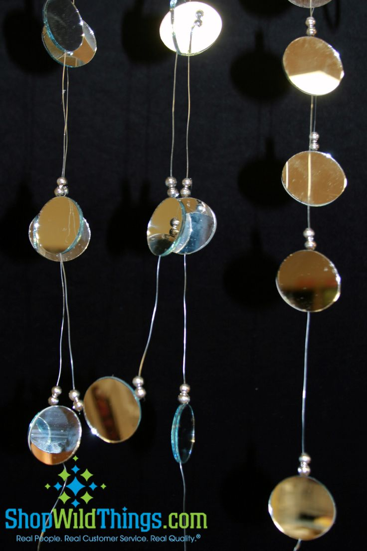 "You'll get 2 strands of Oval Shaped 2"" double sided real  mirrors with clear beads. Each strand is 9 Feet long and has a keyring at the top for easy hanging. Hang these in a window, in your trees out"