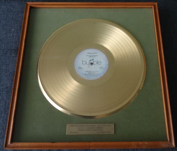 Catawiki online auction house: Gold Record Herman Brood Original Gouden Plaat Goldene Schallplatte Gold Disc Shpritsz Award