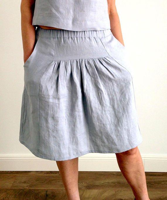 e0604938da8 Linen loose midi summer skirt with wide elastic waist pockets ...