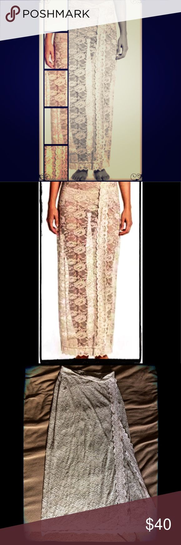 FREE PEOPLE .small. Scalloped Lace Maxi Skirt FREE PEOPLE .small. Oatmeal Scalloped Lace Maxi Skirt Overlay/Slip. Barely worn. Free People Skirts Maxi