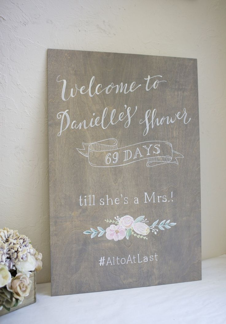 Gray wash Stained Plywood Bridal Shower Custom Sign. Choose your size. Bride to Be. Days until she's a Mrs. Choose your stain color.