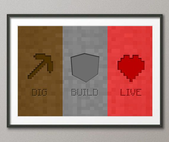 Minecraft is a sandbox video game originally created by Swedish game designer Markus Notch Persson and later developed and published by Mojang  * Digital illustration print * Frame Not Included Myblurrylife.com is me
