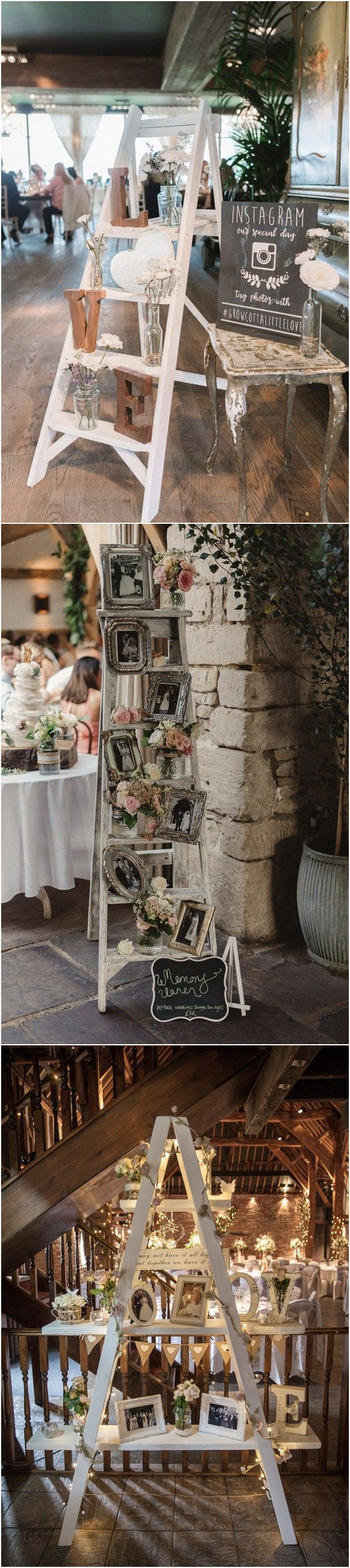 vintage ladders inspired wedding reception decoration ideas2