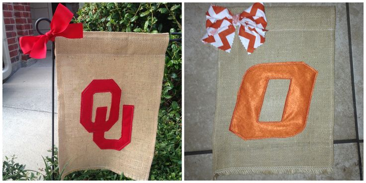 Easy to may and #sew much fun! OU Sooners and OSU Cowboys Yard Flags