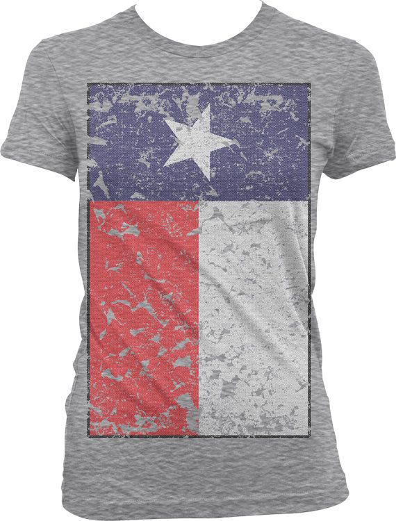 Texas Flag Ladies T-shirt, Oversized Faded Texas State Flag, State Flag of Texas, Texas Pride, Junior and Women's Texas T-shirts GH_00596