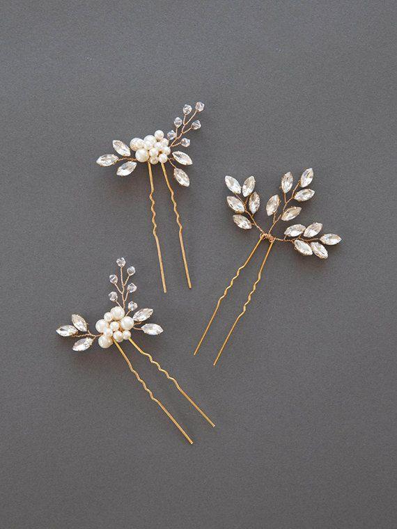 Gold Pearl Headpiece | Rhinestone Lead Wedding Hair Accessories | Golden Bridal Hair Comb [Senna & Liv Hairpin Set]