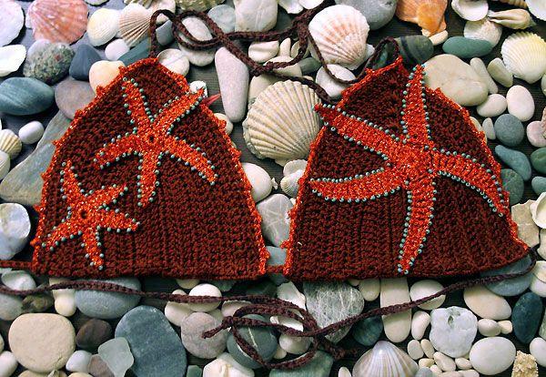 starfish crochet bikini  Шоколадный купальник с рыжими морскими звездами - Вяжем вместе с Юлей Колбаскиной - Рукодельничаем - Минчанка: быть женщиной - это интересно!