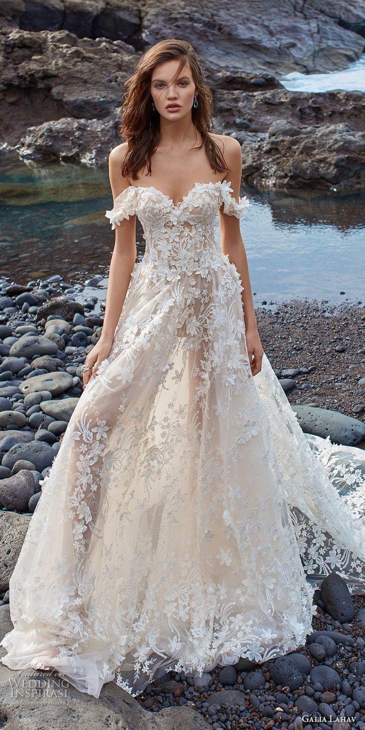 galia lahav gala 2018 bridal off the shoulder sweetheart neckline full embellish