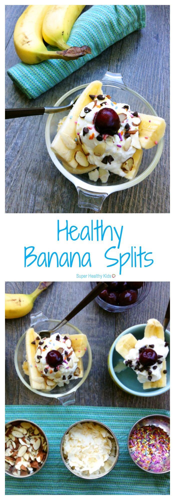 FOOD - Healthy Banana Splits. Turn a traditionally-decadent dessert into a healthful snack with whole milk yogurt, fruit, seeds and dark chocolate chips! http://www.superhealthykids.com/kids-favorite-healthy-banana-split/