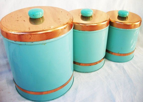 Vintage Turquoise Blue And Copper Kitchen Canister Set
