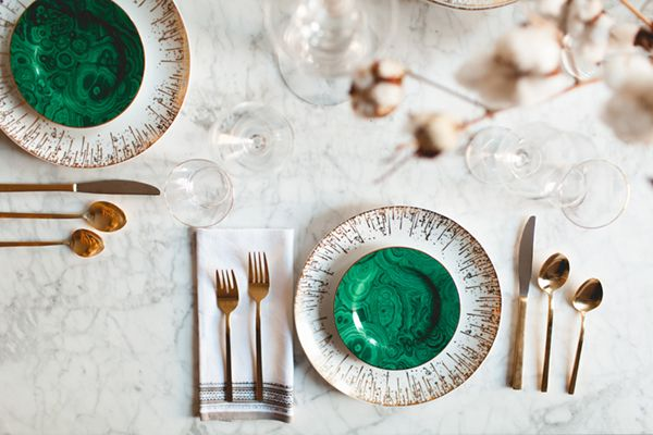 malachite + gold on a marble table