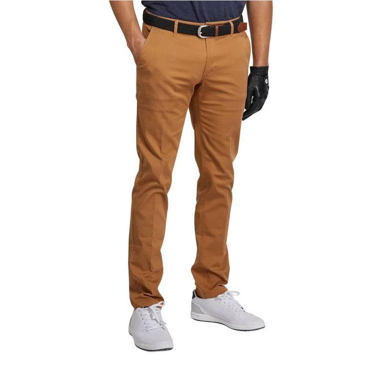 Pánské kalhoty 500 na golf oříškově hnědé
